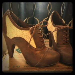 Brown and white lace booties